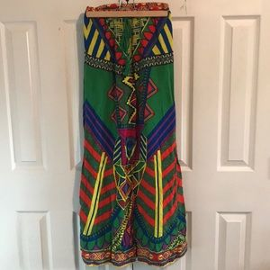 Colorful patterned wide legged pants